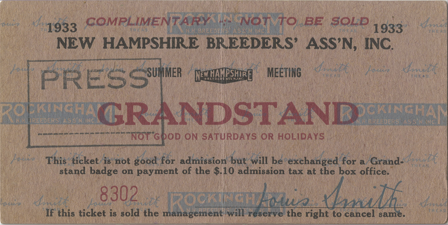 Rockingham Thoroughbred Racing Grand Stand Ticket