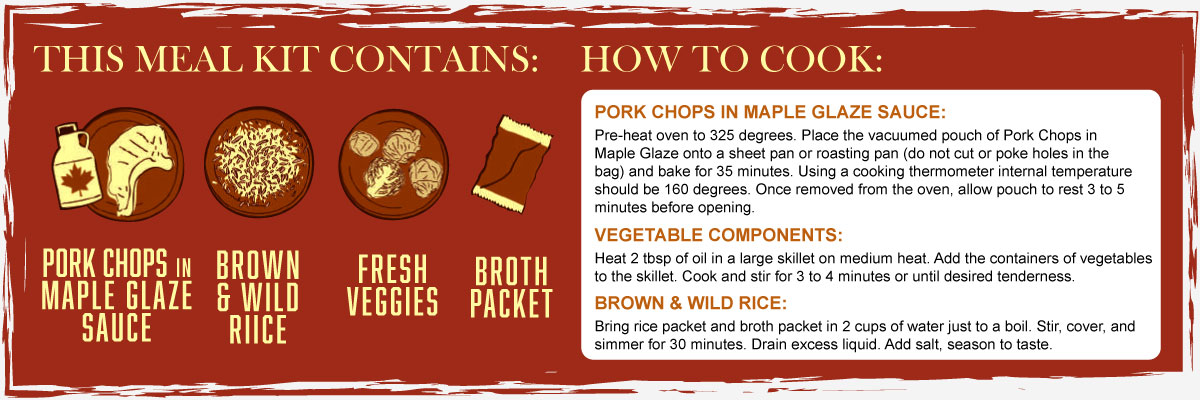 Maple Glazed Pork Chop Contents and Instructions
