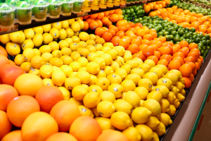 Varieties of Citrus available in produce aisle.