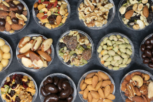 Assortments of nuts in a glass bowl