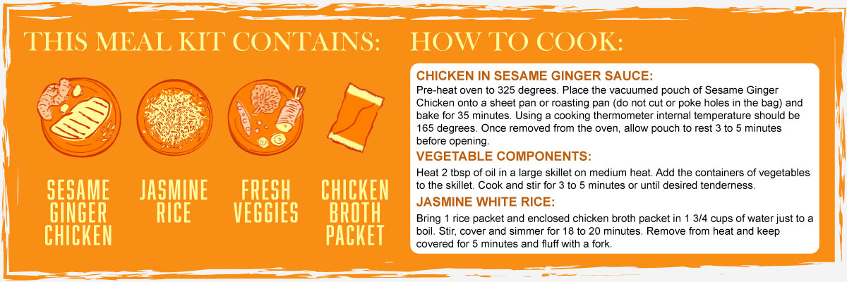 Sesame Ginger Chicken Contents and Instructions
